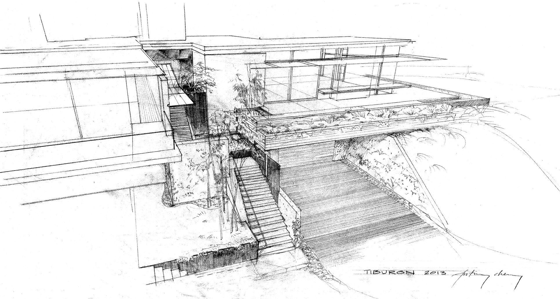 architectural drawings. Tiburon House - Hand Drawing | CHENG Design Architectural Drawings