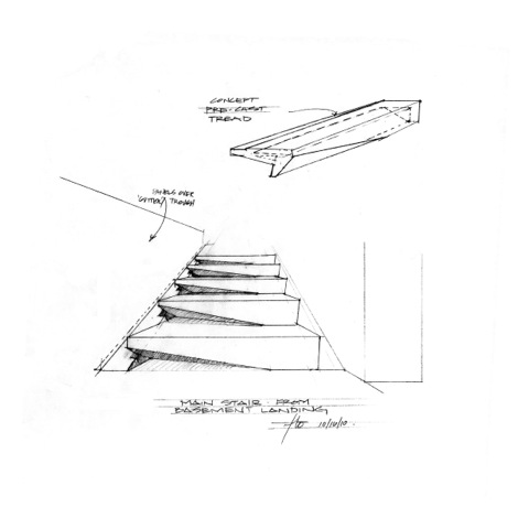 House 7 Stairs | Sketch looking up | CHENG Design | sustainable, emotional, timeless design