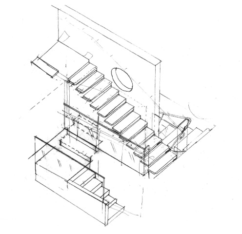House 7 Stairs | Sketch from above | CHENG Design | sustainable, emotional, timeless design
