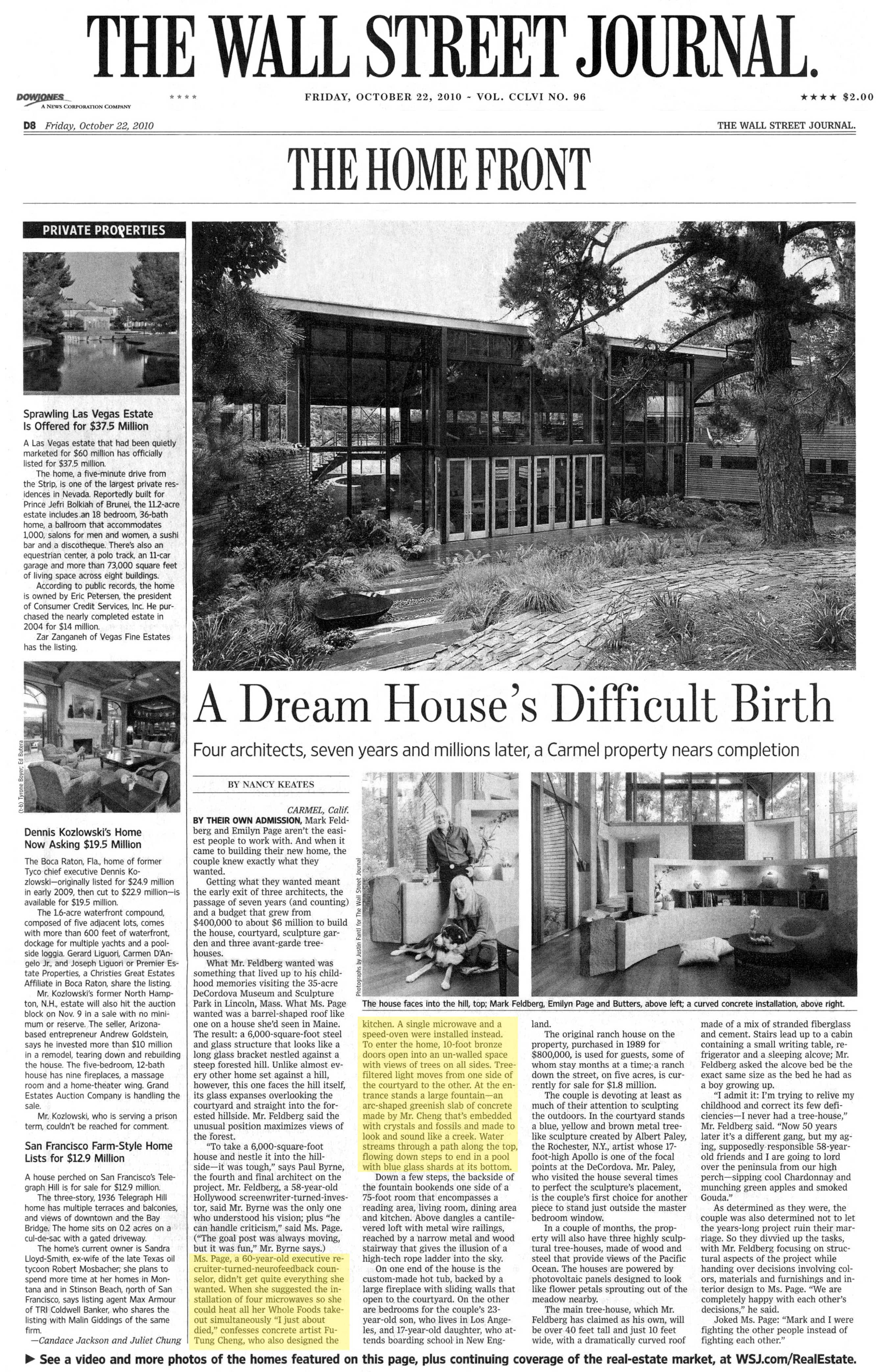 The Wall Street Journal | A Dream House's Difficult Birth – featuring CHENG Design